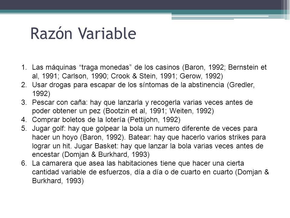 Razón Variable Las máquinas traga monedas de los casinos (Baron, 1992; Bernstein et al, 1991; Carlson, 1990; Crook & Stein, 1991; Gerow, 1992)