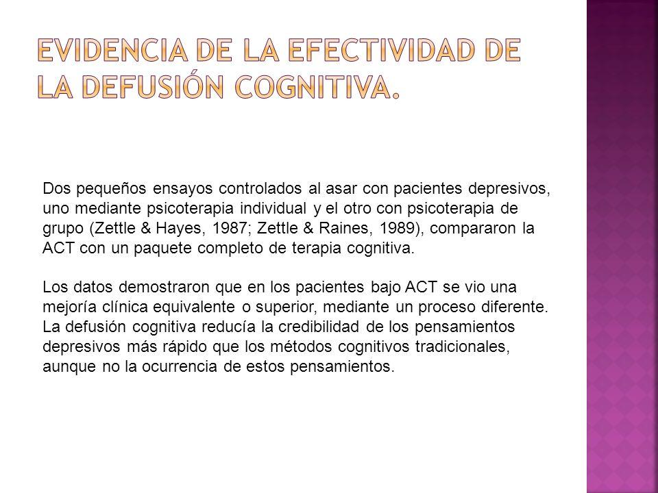 Evidencia de la efectividad de la Defusión Cognitiva.