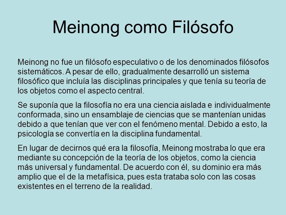 Meinong como Filósofo