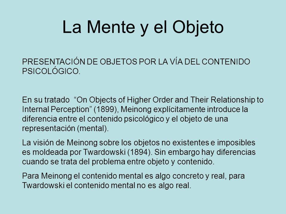 La Mente y el Objeto PRESENTACIÓN DE OBJETOS POR LA VÍA DEL CONTENIDO PSICOLÓGICO.