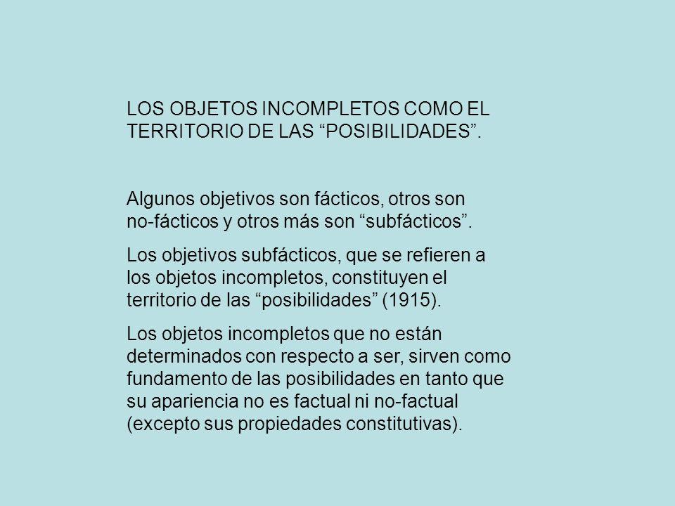 LOS OBJETOS INCOMPLETOS COMO EL TERRITORIO DE LAS POSIBILIDADES .