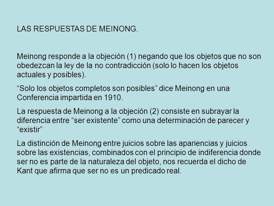 LAS RESPUESTAS DE MEINONG.