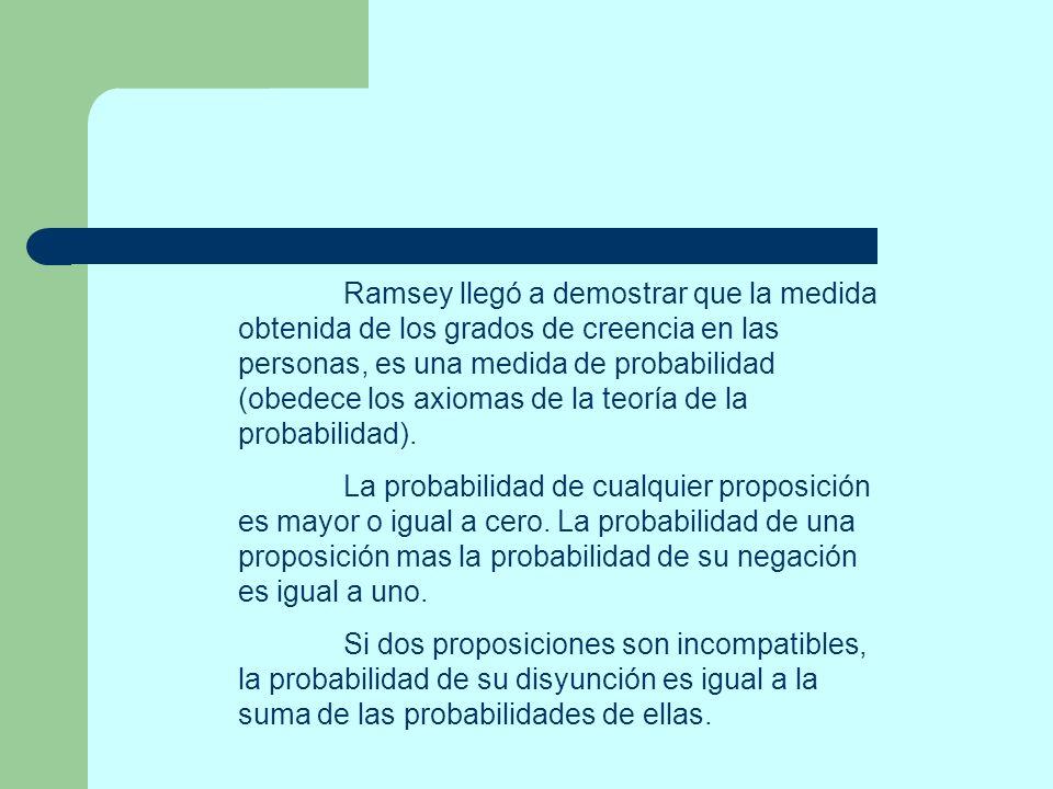 Ramsey llegó a demostrar que la medida obtenida de los grados de creencia en las personas, es una medida de probabilidad (obedece los axiomas de la teoría de la probabilidad).