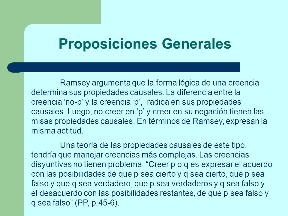 Proposiciones Generales
