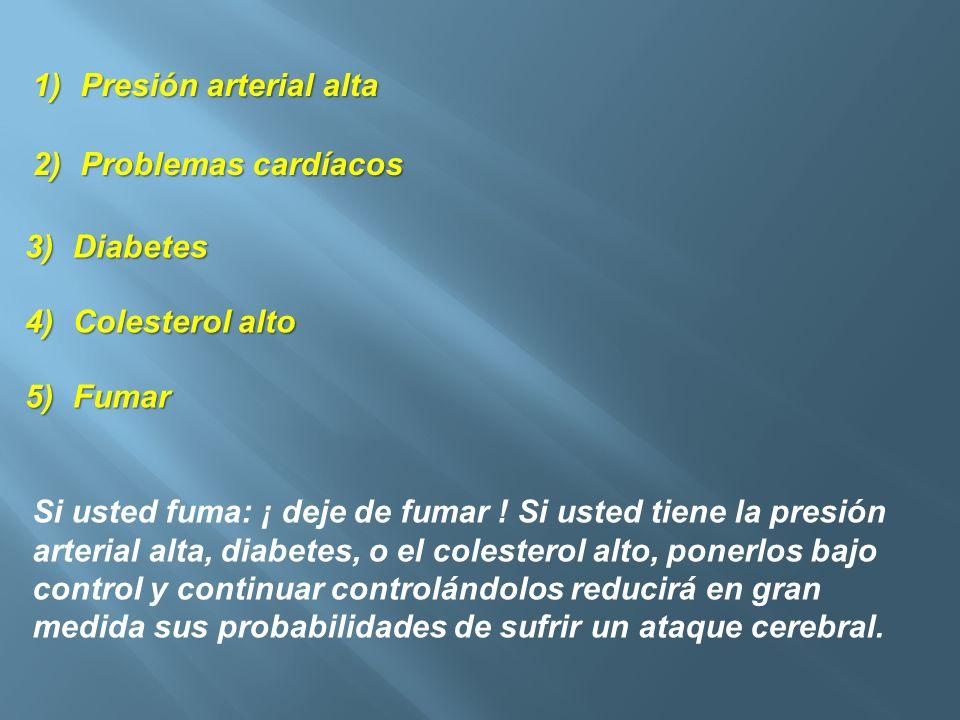 Presión arterial altaProblemas cardíacos. Diabetes. Colesterol alto. Fumar.
