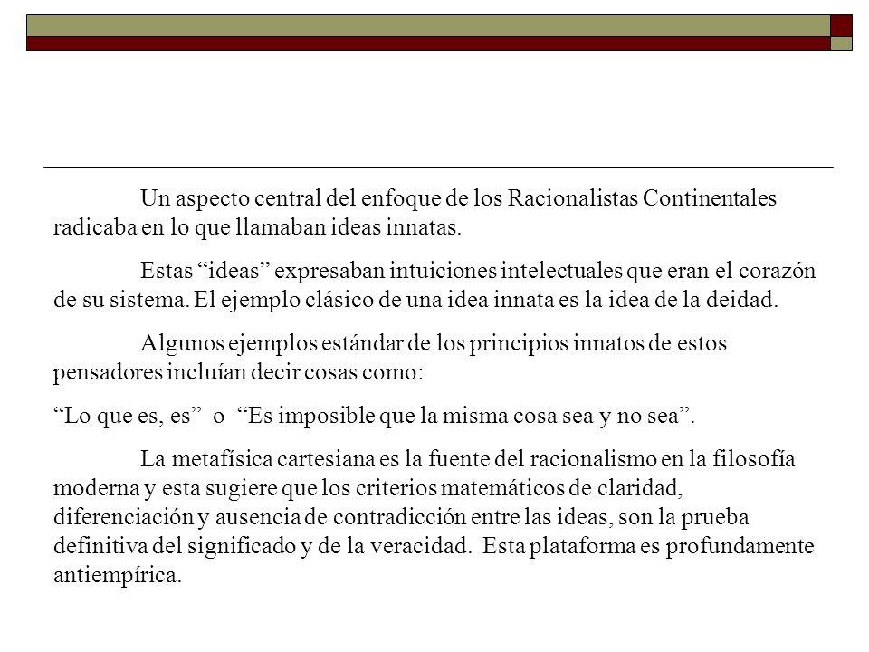 Un aspecto central del enfoque de los Racionalistas Continentales radicaba en lo que llamaban ideas innatas.