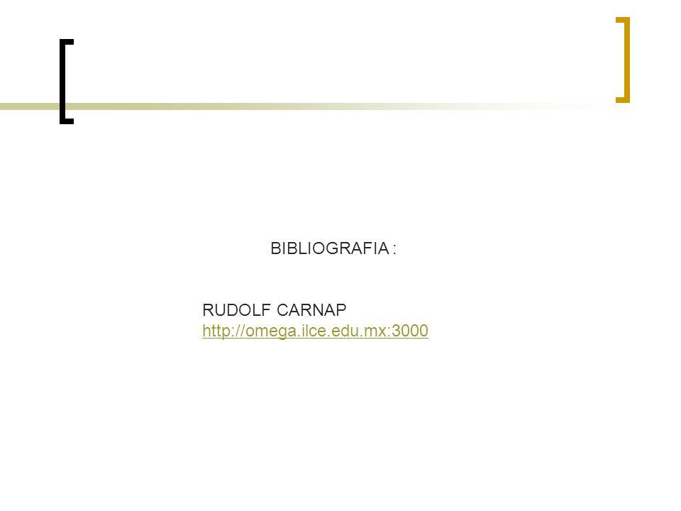 BIBLIOGRAFIA : RUDOLF CARNAP http://omega.ilce.edu.mx:3000