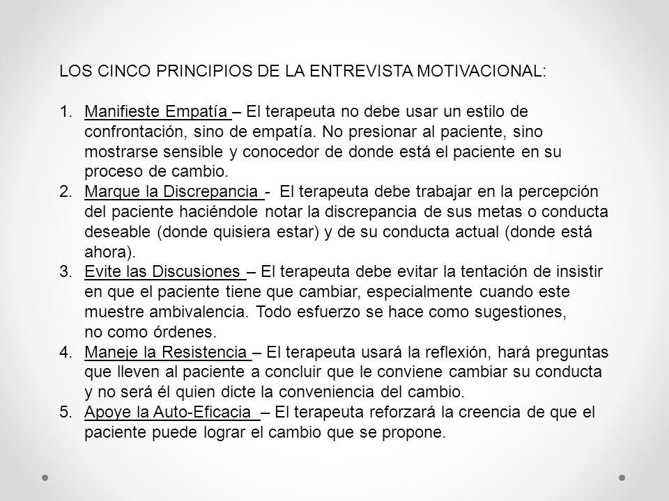 LOS CINCO PRINCIPIOS DE LA ENTREVISTA MOTIVACIONAL: