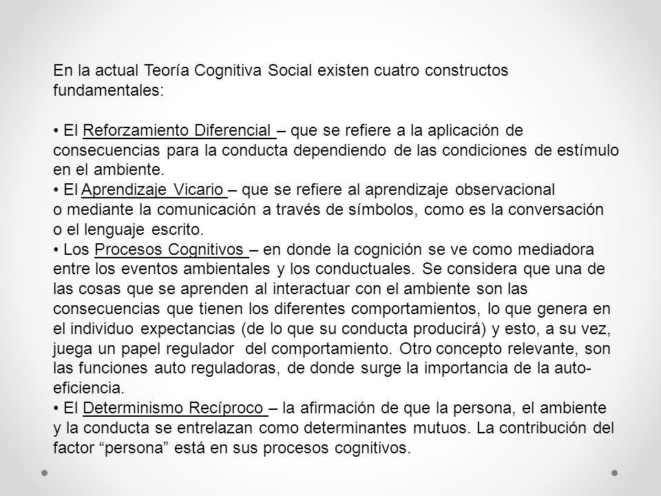 En la actual Teoría Cognitiva Social existen cuatro constructos fundamentales: