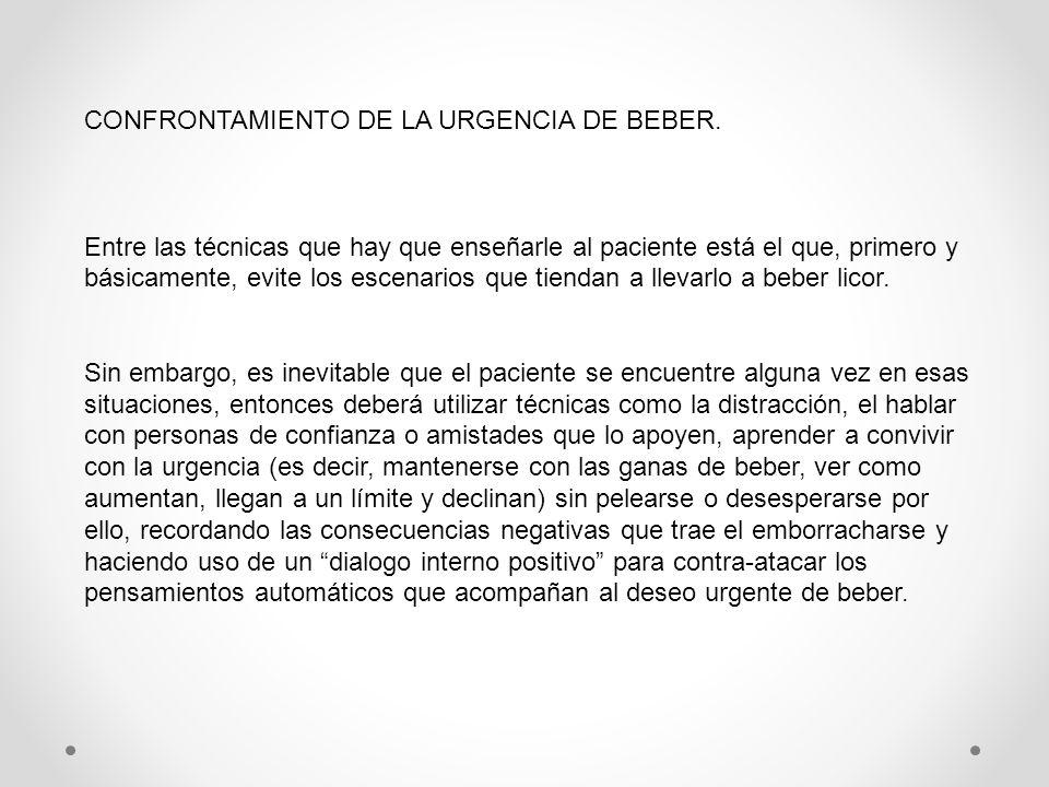 CONFRONTAMIENTO DE LA URGENCIA DE BEBER.
