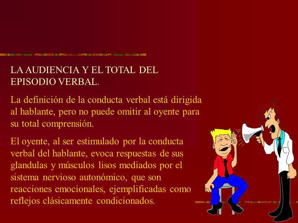 LA AUDIENCIA Y EL TOTAL DEL EPISODIO VERBAL.
