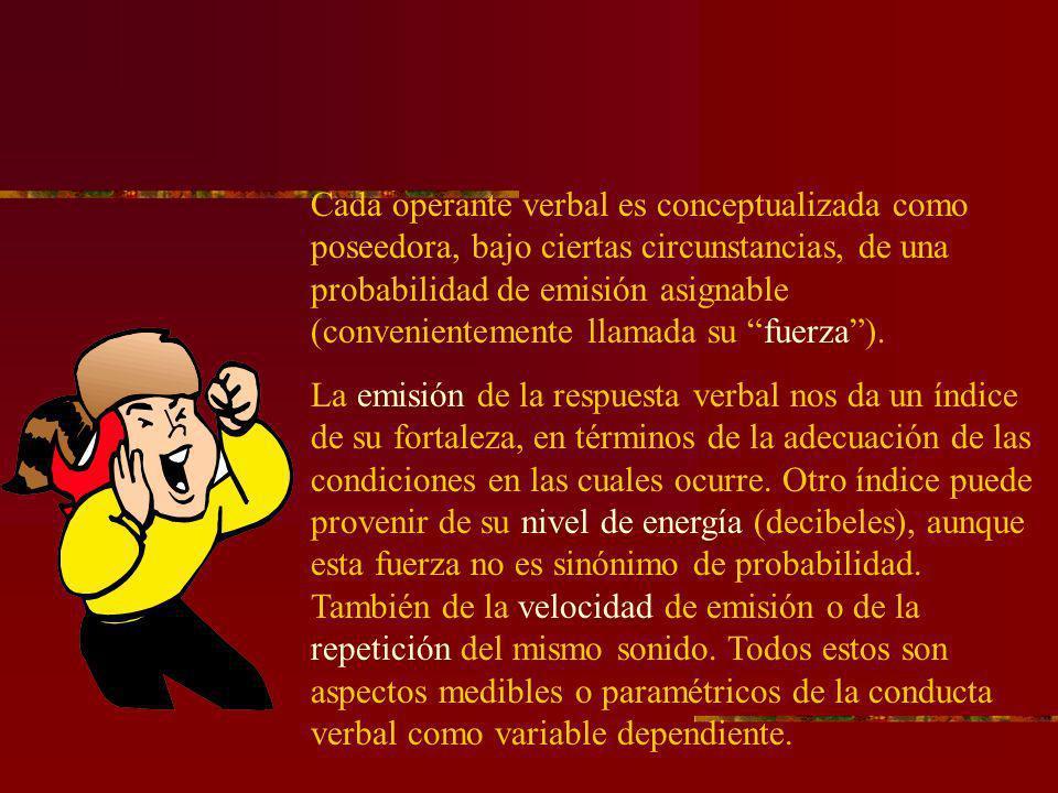 Cada operante verbal es conceptualizada como poseedora, bajo ciertas circunstancias, de una probabilidad de emisión asignable (convenientemente llamada su fuerza ).