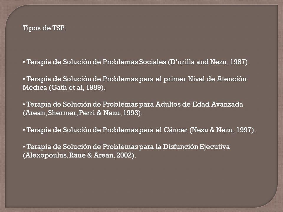 Tipos de TSP: Terapia de Solución de Problemas Sociales (D'urilla and Nezu, 1987).