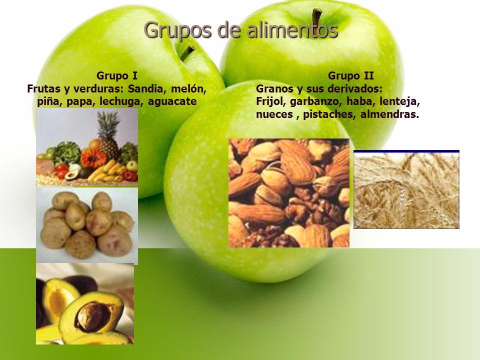 Frutas y verduras: Sandia, melón, piña, papa, lechuga, aguacate