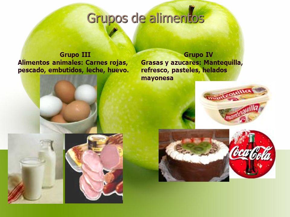 Grupos de alimentos Grupo III