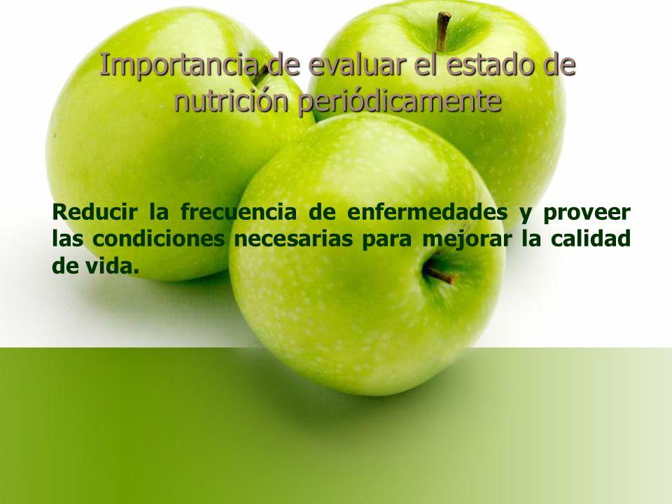 Importancia de evaluar el estado de nutrición periódicamente