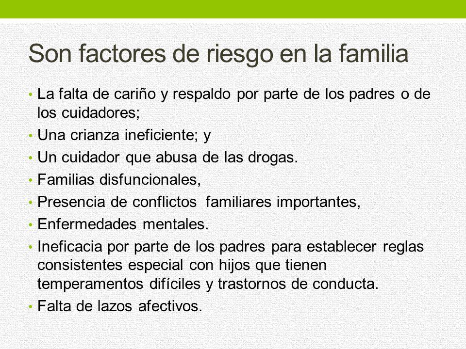 Son factores de riesgo en la familia