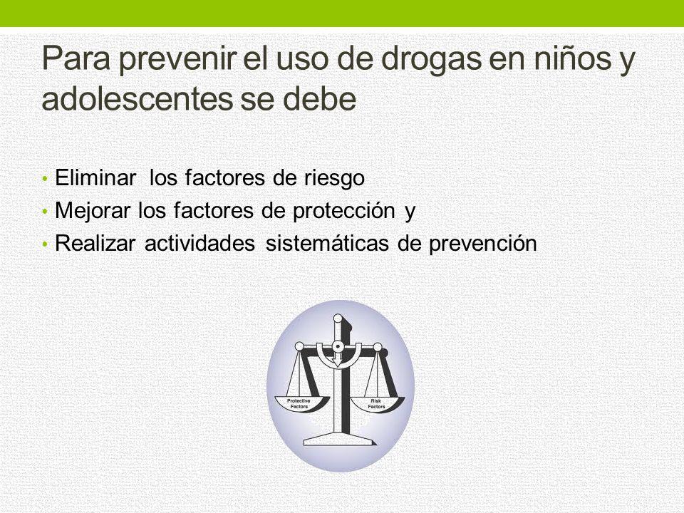 Para prevenir el uso de drogas en niños y adolescentes se debe