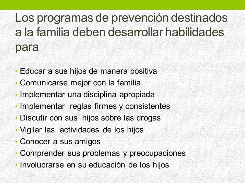 Los programas de prevención destinados a la familia deben desarrollar habilidades para