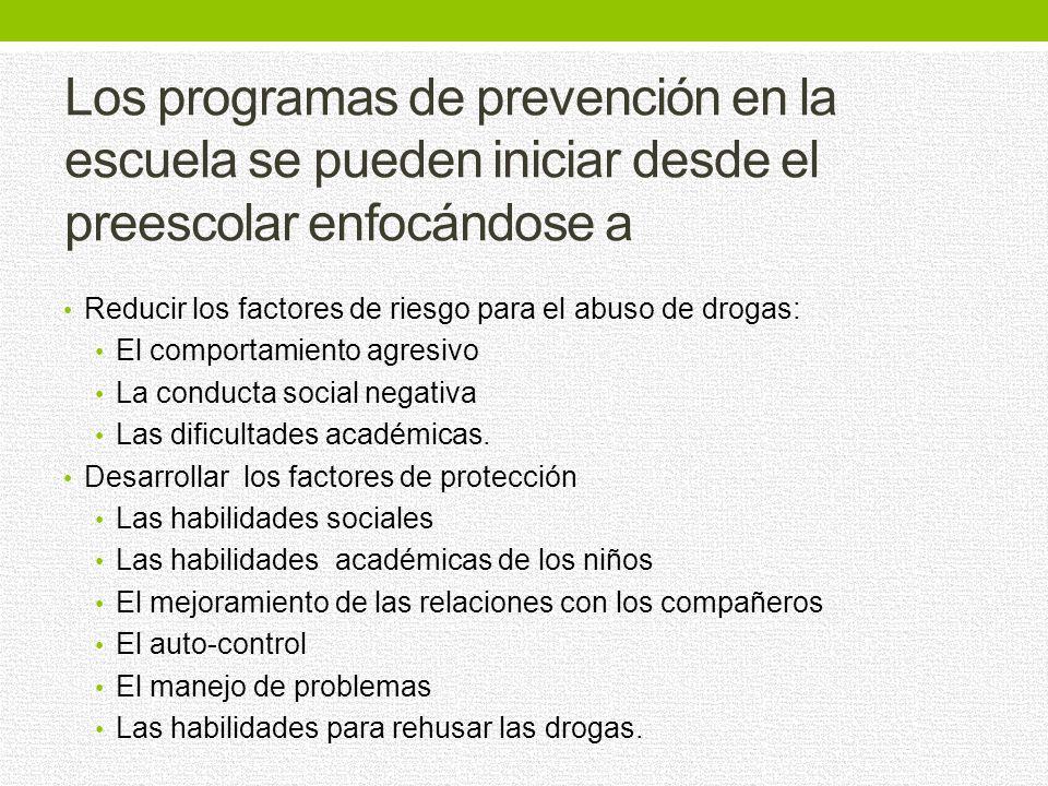 Los programas de prevención en la escuela se pueden iniciar desde el preescolar enfocándose a