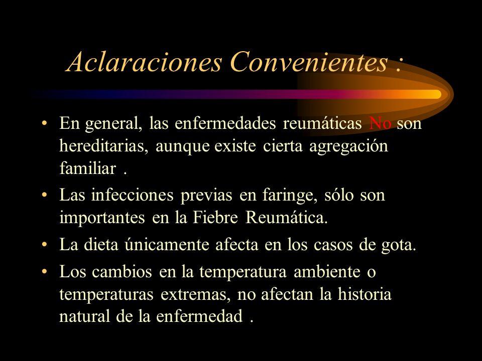 Aclaraciones Convenientes :