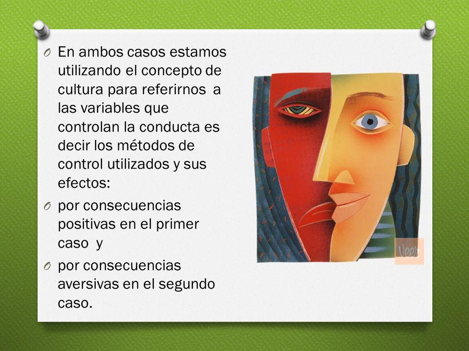 En ambos casos estamos utilizando el concepto de cultura para referirnos a las variables que controlan la conducta es decir los métodos de control utilizados y sus efectos: