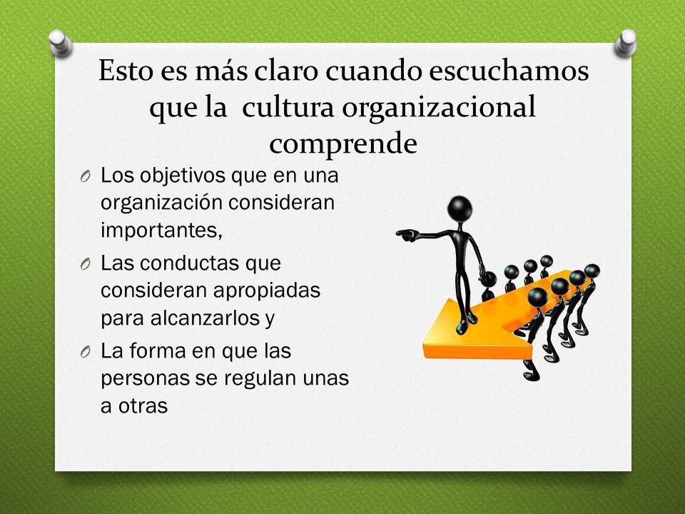 Esto es más claro cuando escuchamos que la cultura organizacional comprende
