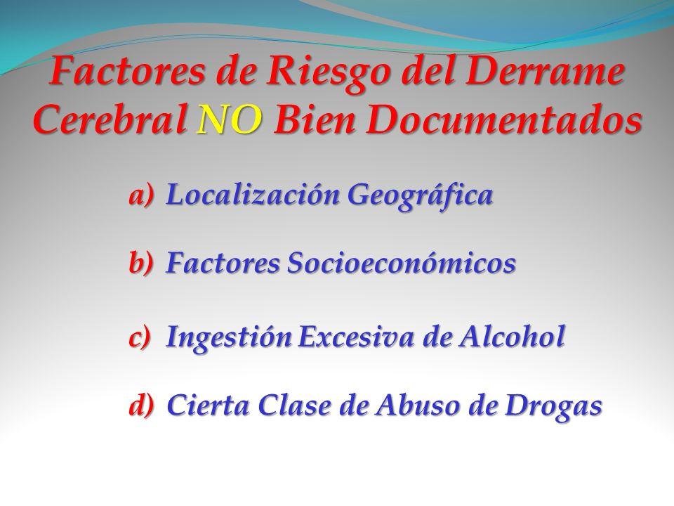 Factores de Riesgo del Derrame Cerebral NO Bien Documentados
