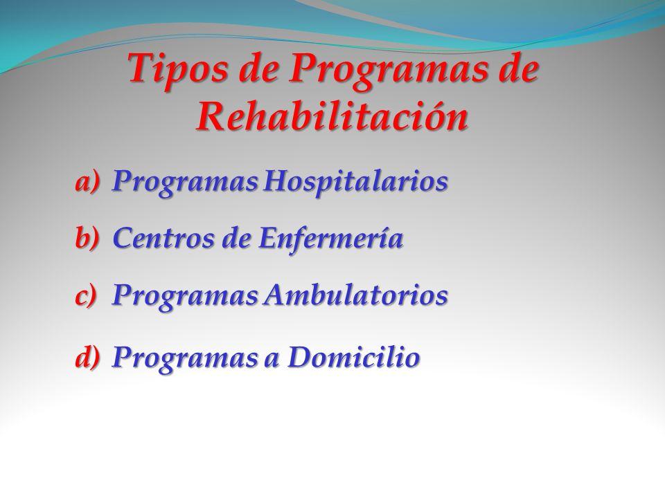 Tipos de Programas de Rehabilitación