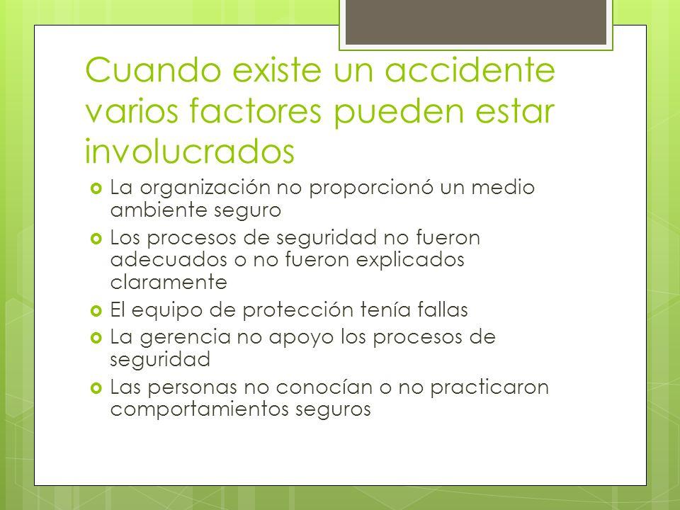 Cuando existe un accidente varios factores pueden estar involucrados