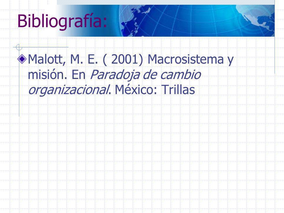 Bibliografía:Malott, M.E. ( 2001) Macrosistema y misión.