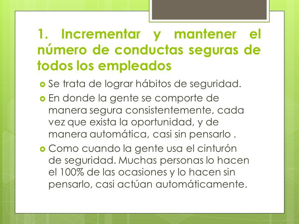 1. Incrementar y mantener el número de conductas seguras de todos los empleados