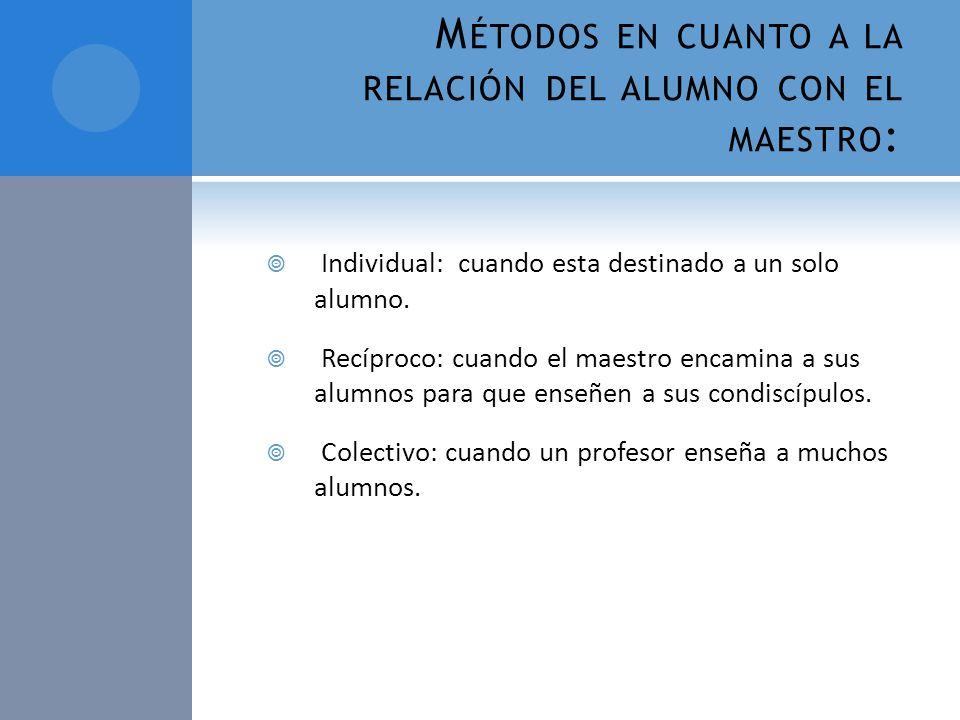 Métodos en cuanto a la relación del alumno con el maestro: