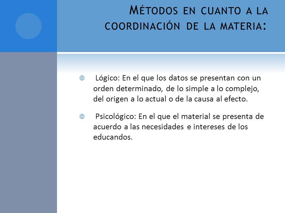 Métodos en cuanto a la coordinación de la materia: