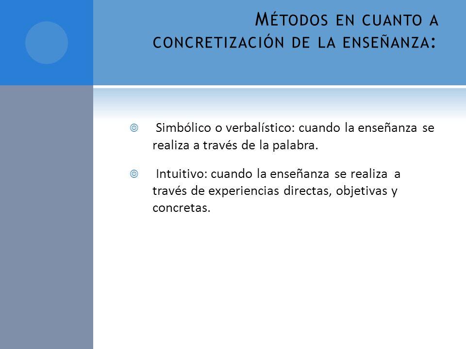Métodos en cuanto a concretización de la enseñanza: