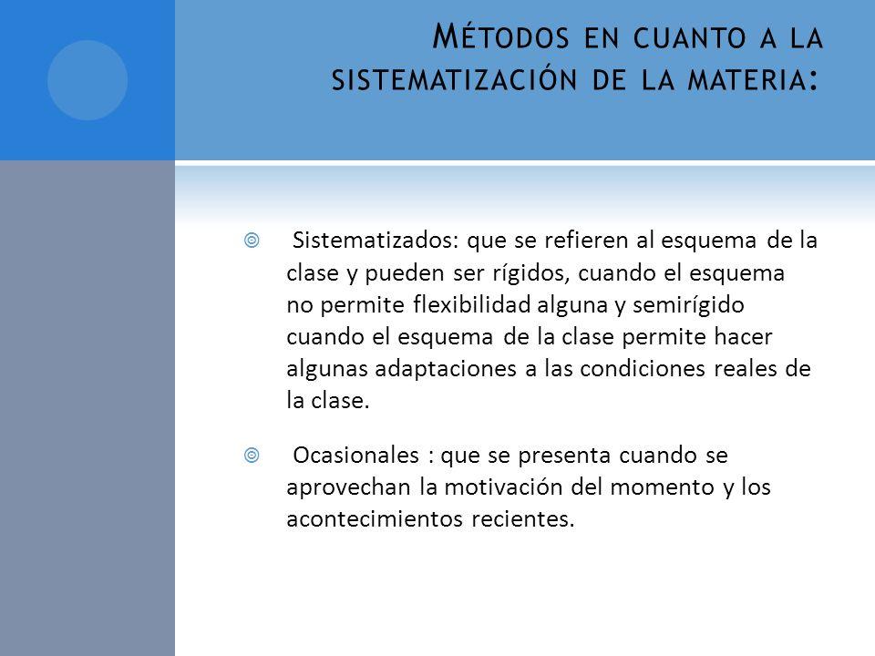 Métodos en cuanto a la sistematización de la materia: