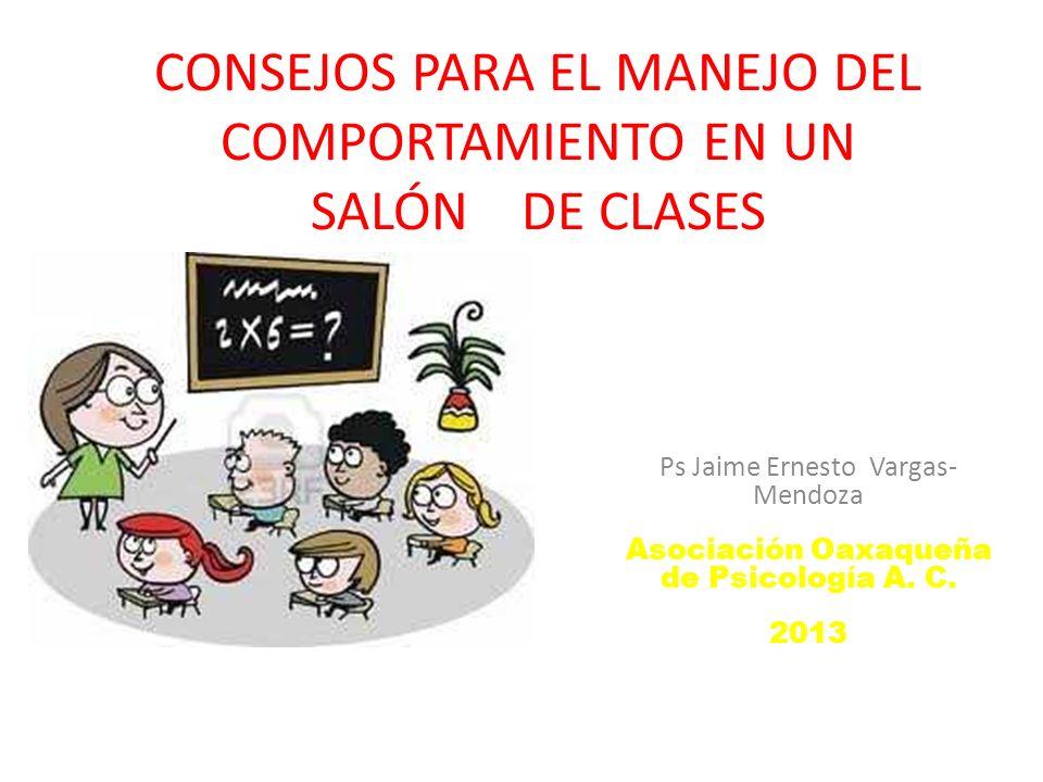 CONSEJOS PARA EL MANEJO DEL COMPORTAMIENTO EN UN SALÓN DE CLASES