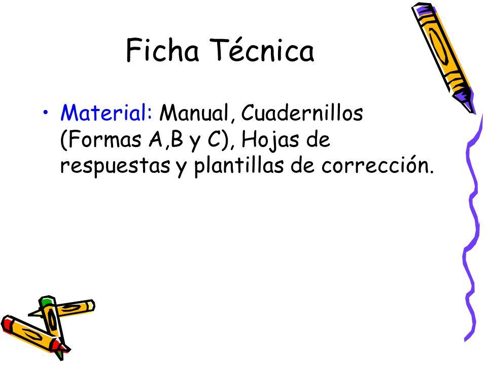 Ficha Técnica Material: Manual, Cuadernillos (Formas A,B y C), Hojas de respuestas y plantillas de corrección.