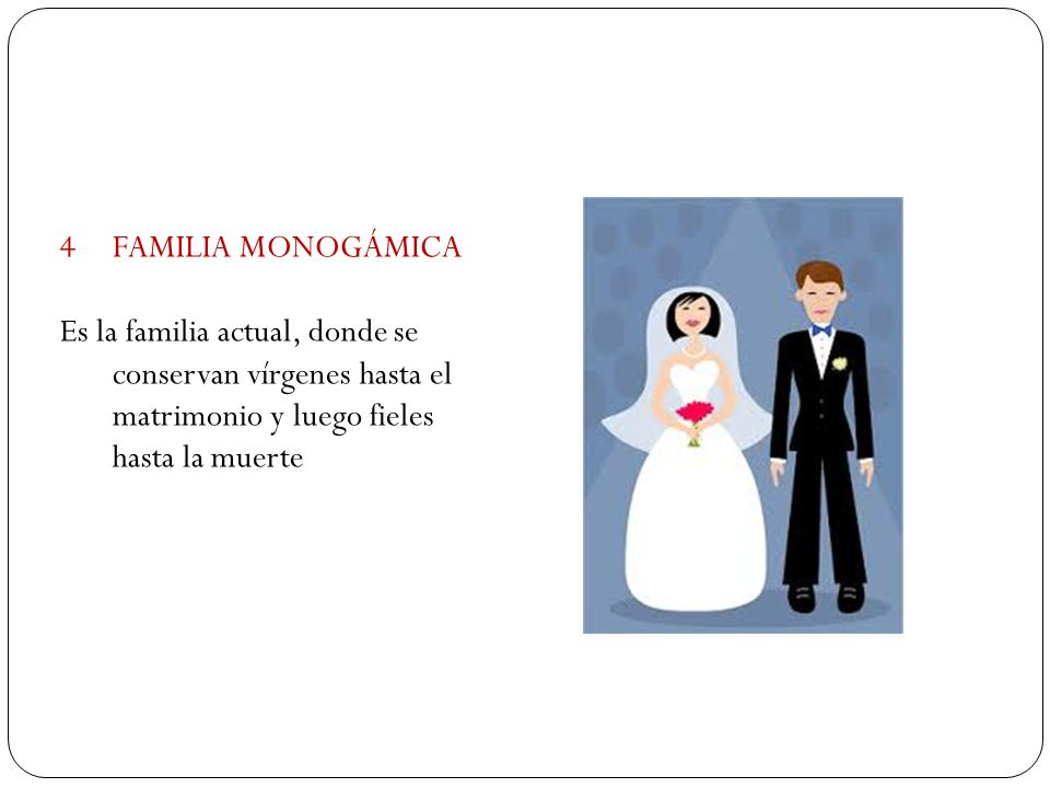 FAMILIA MONOGÁMICA Es la familia actual, donde se conservan vírgenes hasta el matrimonio y luego fieles hasta la muerte.