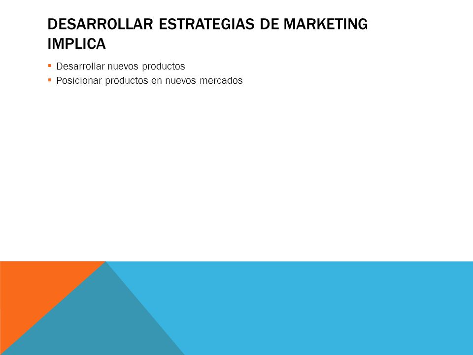 Desarrollar estrategias de marketing implica