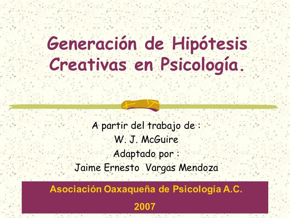 Generación de Hipótesis Creativas en Psicología.