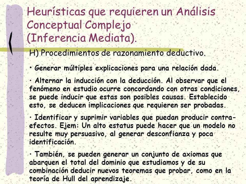 Heurísticas que requieren un Análisis Conceptual Complejo (Inferencia Mediata).