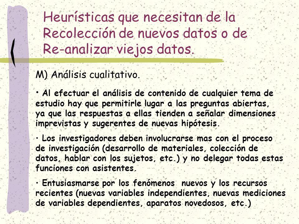 Heurísticas que necesitan de la Recolección de nuevos datos o de Re-analizar viejos datos.