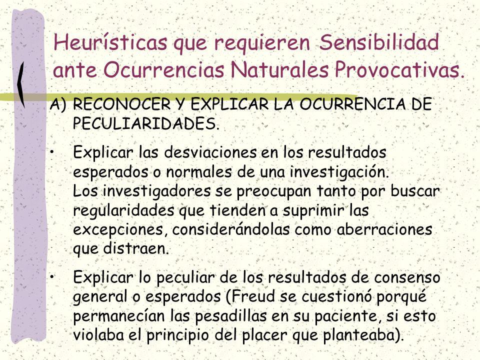 Heurísticas que requieren Sensibilidad ante Ocurrencias Naturales Provocativas.