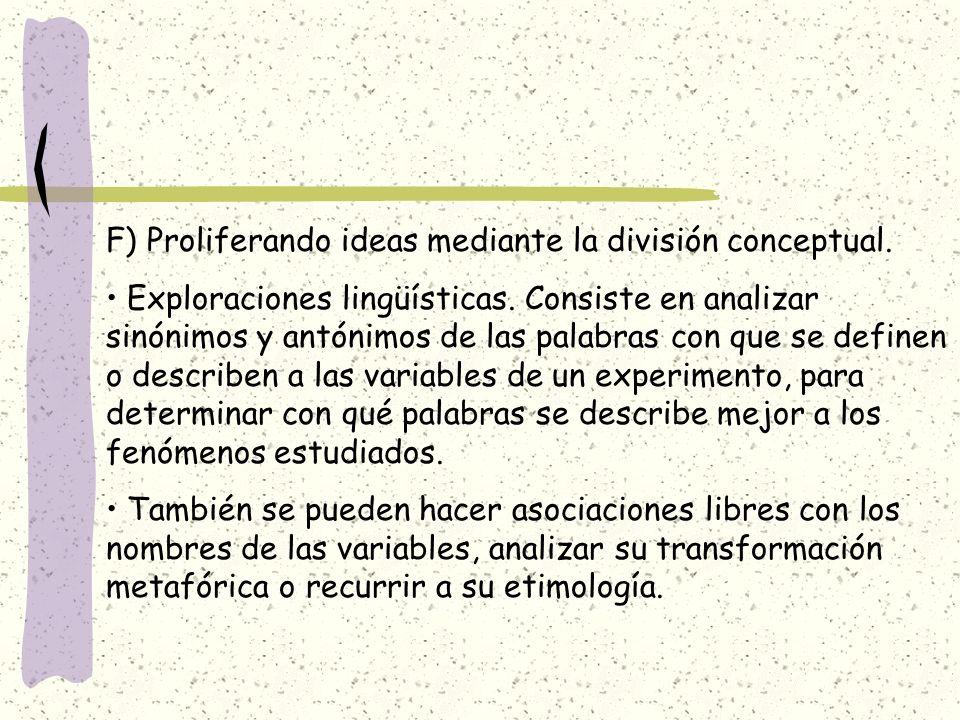 F) Proliferando ideas mediante la división conceptual.