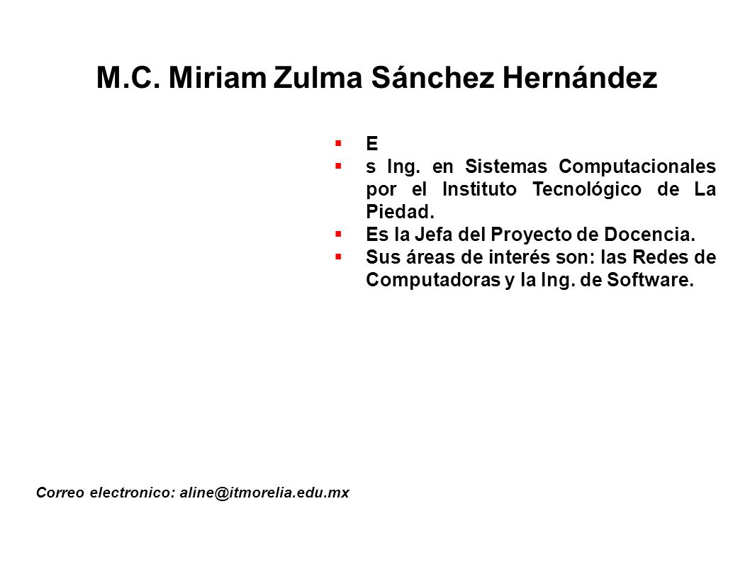 M.C. Miriam Zulma Sánchez Hernández