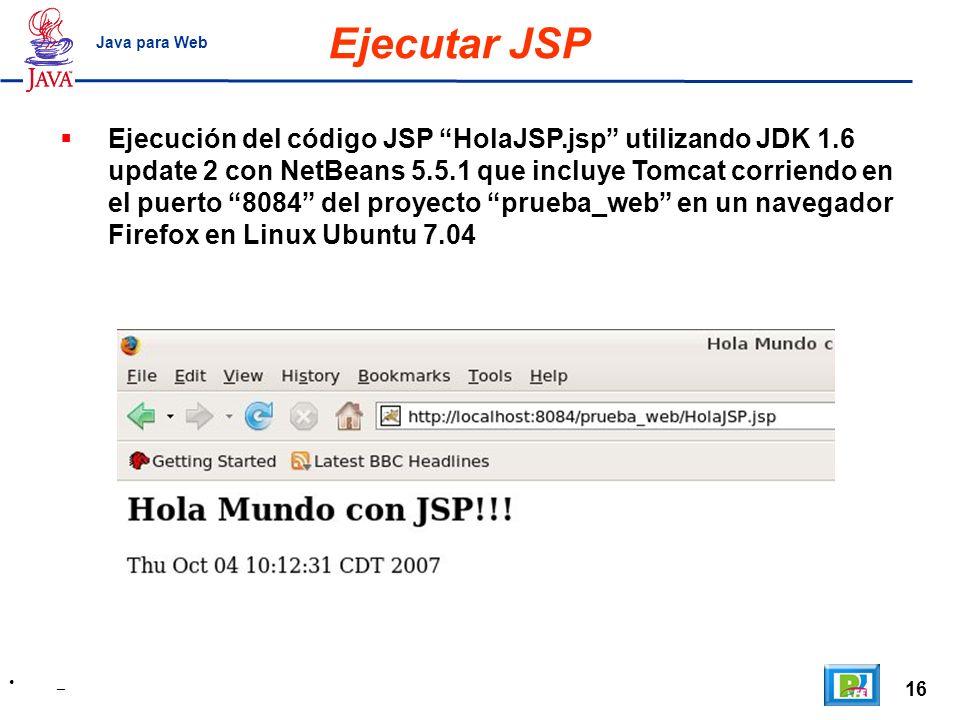 Ejecutar JSP Java para Web.