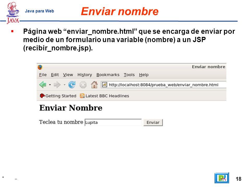 Enviar nombre Java para Web.