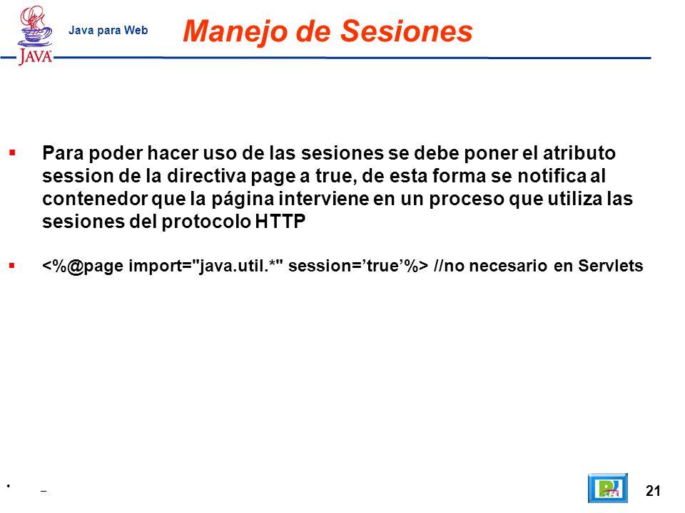 Manejo de Sesiones Java para Web.