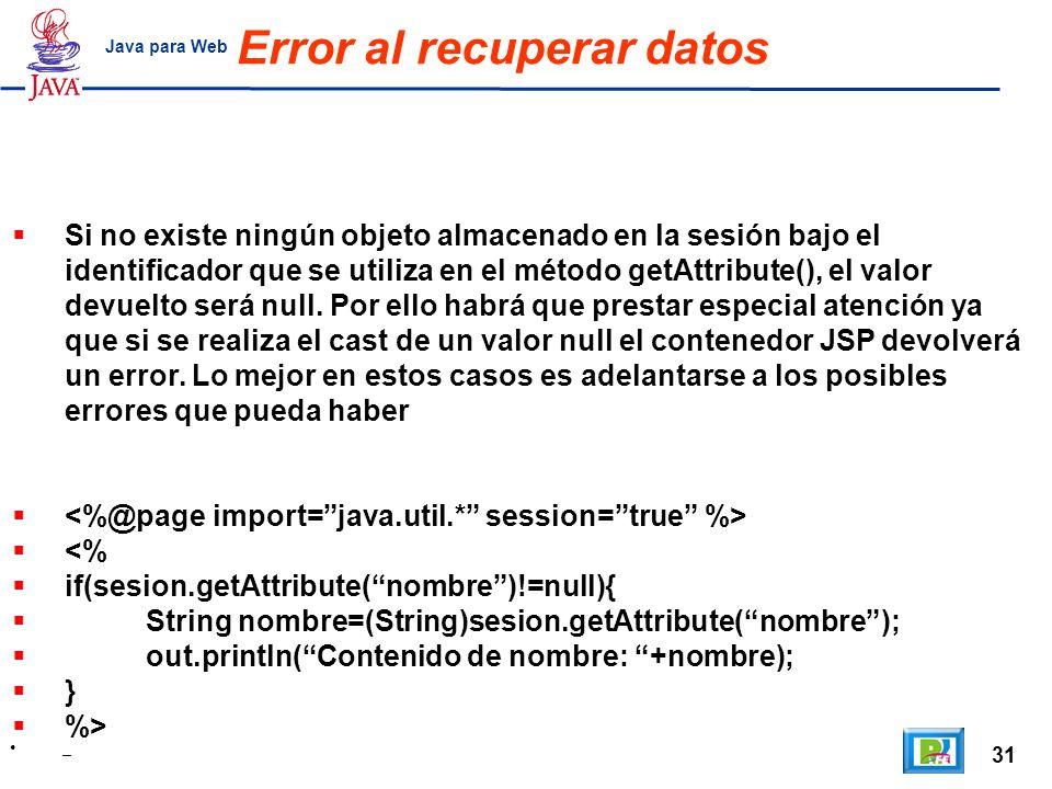 Error al recuperar datos